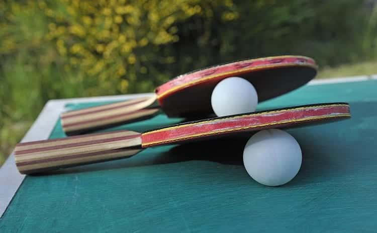 two balls and paddles